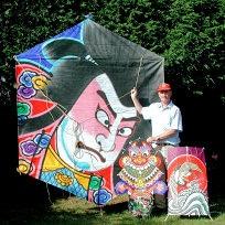 Kiteman with kites
